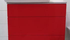 Czerwone meble łazienkowe na wymiar Wandpark Piaseczno